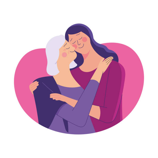 mother and daughter hugging each other young woman hug her old mother with love, mother and daughter love as family, mother's day concept media daughter stock illustrations