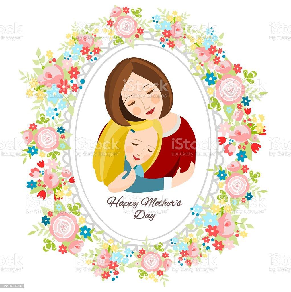 Ilustración de Madre E Hija En Un Marco De Flores y más banco de ...