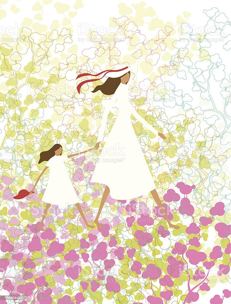 Mother and daughter in a spring landscape royalty-free stock vector art
