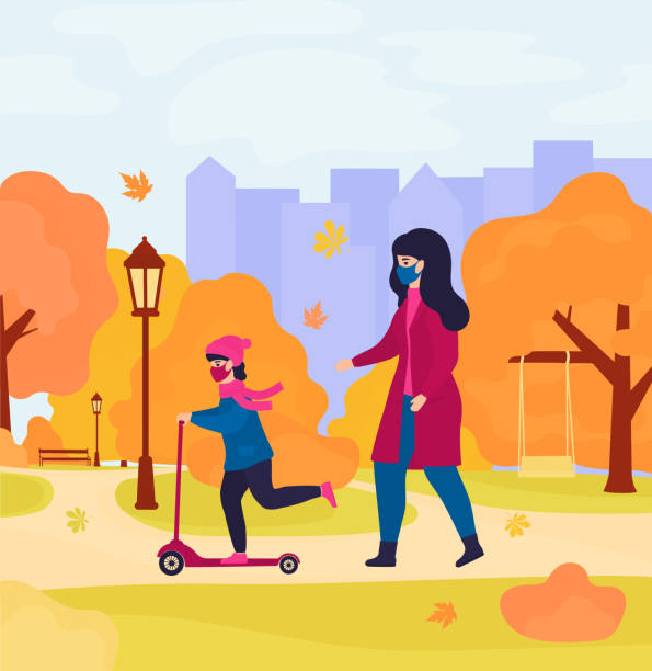 mother and daughter in protective masks walk in the autumn park. girl rides a scooter - single mother stock illustrations
