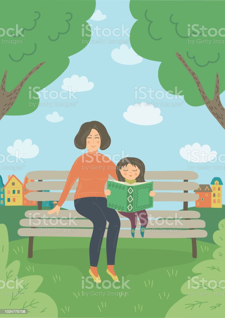 Mother and daughter in the park vector art illustration