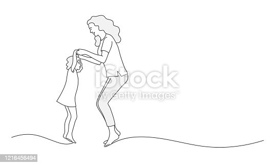istock Mother and daughter jumping 1216456494