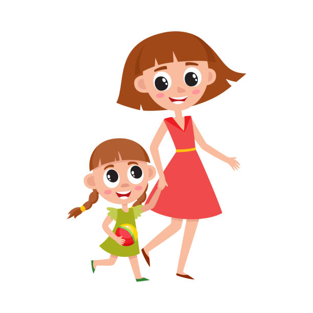 Mother and daughter, little girl walking with mom vector art illustration