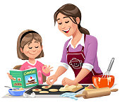 Vector illustration of a young mother and her little daughter in the kitchen baking cookies. The girl is holding a cookbook and is assisting her mother. Isolated on white.