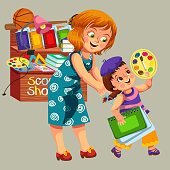 Happy smiling mom and child buying stuff in stationery shop vector illustration. Cheerful girl holding notebooks and paints. Welcome back to school concept