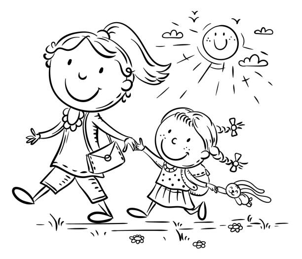 Mother and daughter on the way to kindergarten, parent and child walking outdoors vector art illustration