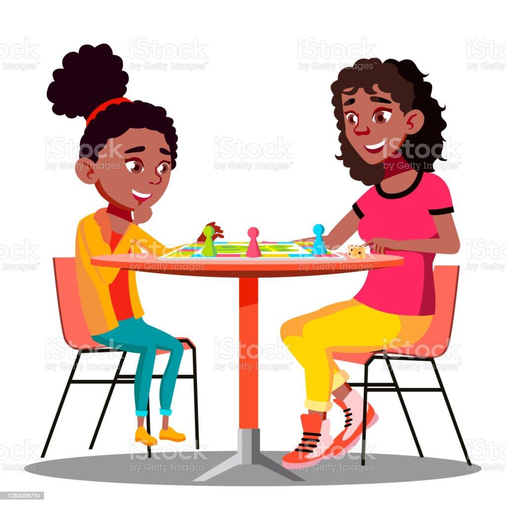 Ilustracion De Madre E Hija Jugando Un Juego De Mesa Juntos Vector