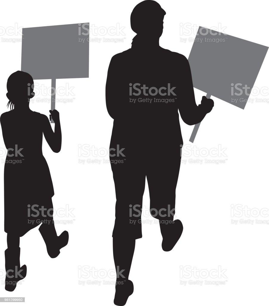 Mother And Daughter Protesting - ilustração de arte vetorial