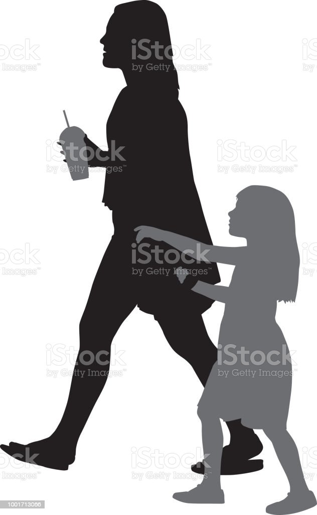 Ilustración De Madre E Hija Silueta Y Más Banco De Imágenes De