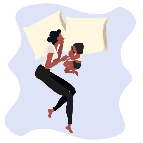 bildbanksillustrationer, clip art samt tecknat material och ikoner med mor och dotter sover i sängen - cosy pillows mother child