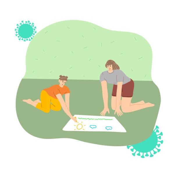 stockillustraties, clipart, cartoons en iconen met moeder en dochter die thuis blijven en voor bescherming tegen coronavirusbesmetting trekken - avondklok