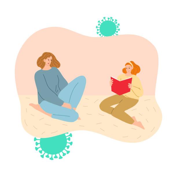 stockillustraties, clipart, cartoons en iconen met moeder en dochter die thuis blijven en voor bescherming tegen coronavirusbesmetting lezen - avondklok