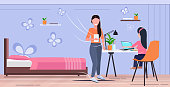 mother and daughter using digital gadgets at workplace woman helping her child to do homework modern living room interior flat full length horizontal vector illustration