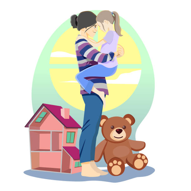 mother and daughter mother and daughter hugging each other dollhouse stock illustrations