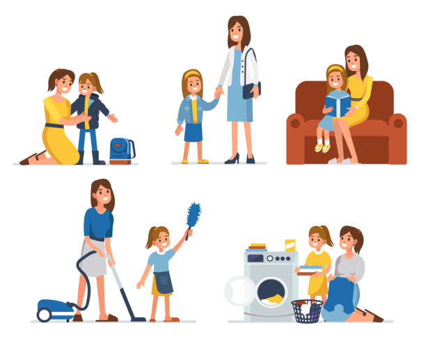 mother and daughter - single mother stock illustrations