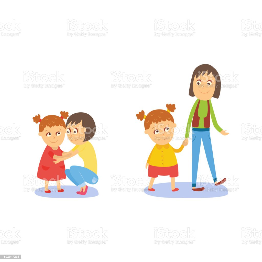 Mother and daughter, walking and hugging vector art illustration