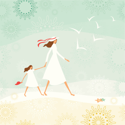 Mother and daughter walking through the beach clipart