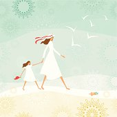 Summer background with a mother and her daughter walking through the beach.