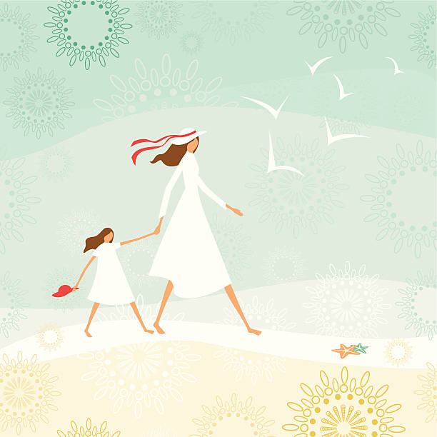 Mother and daughter walking through the beach vector art illustration