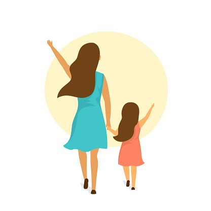 mother and daughter walking together holding hands, backside rear view isolated vector illustration scene clipart