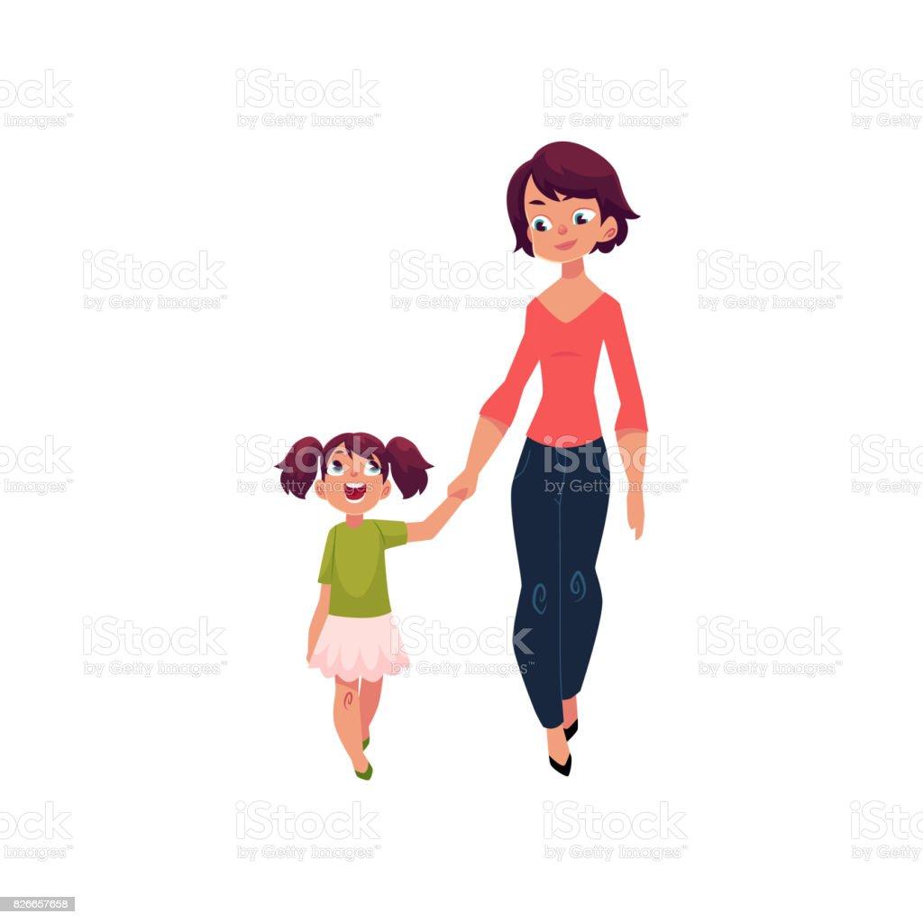 Madre e hija caminando juntos agarrar de la mano - ilustración de arte vectorial