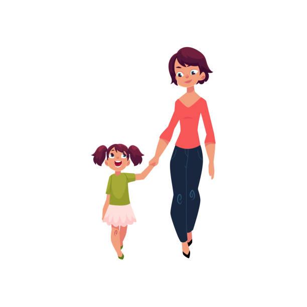 ilustraciones, imágenes clip art, dibujos animados e iconos de stock de madre e hija caminando juntos agarrar de la mano - hija