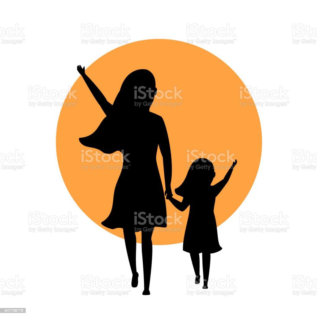 Ilustración De Madre E Hija Caminando Parte Trasera Silueta Ven