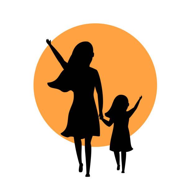 ilustraciones, imágenes clip art, dibujos animados e iconos de stock de madre e hija caminando parte trasera silueta ven escena de silueta - hija