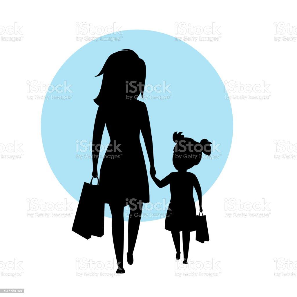 Ilustración De Madre E Hija Caminando Junto Con Bolsas Las Manos