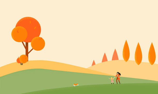 bildbanksillustrationer, clip art samt tecknat material och ikoner med mor och dotter går med sin corgi inom höst hills - hund skog