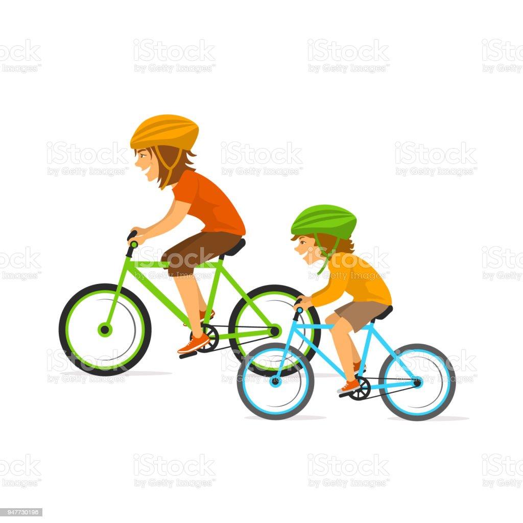 ilustração de mãe e filha mulher e criança andando de bicicleta