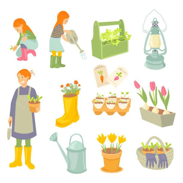 mutter und töchter gärtner. frühlingsgarten arbeitet satz. - kinderstiefel stock-grafiken, -clipart, -cartoons und -symbole