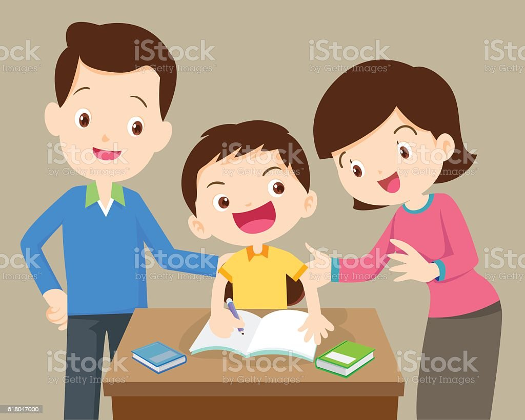 Mother and father doing homework with their kids vector art illustration