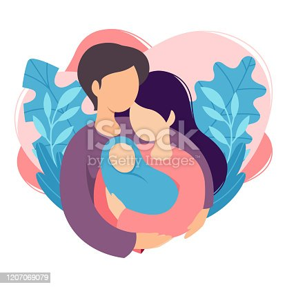 istock Mother and father holding their newborn baby. Couple of husband and wife become parents. Man embracing woman with child. Maternity, fatherhood, parenting. Cartoon flat vector illustration. 1207069079