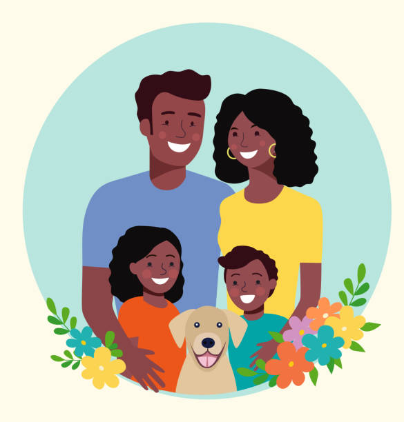 Mother and father with children and dog. Happy afro american family. Vector flat style illustration vector art illustration