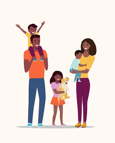 Mother and father with children and dog. Happy afro American family isolated.Vector flat style illustration