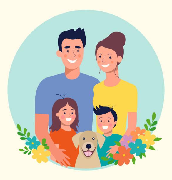 Mutter und Vater mit Kindern und Hund. Glückliche Familie. Vektor-Flachstil-Illustration – Vektorgrafik