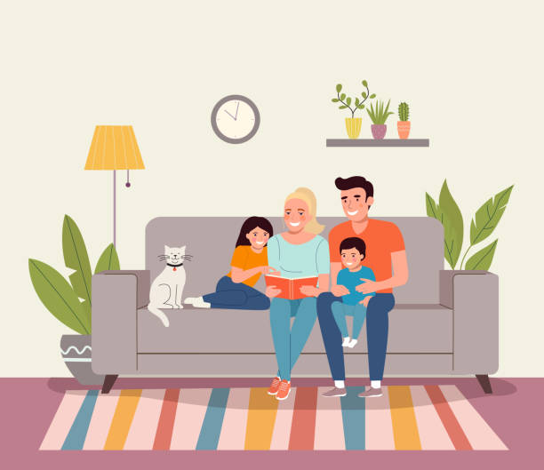 Mother and father with children sitting on sofa and reading a book. Vector flat style illustration vector art illustration