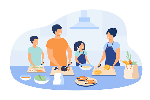 Mother and father with kids cooking dishes at kitchen