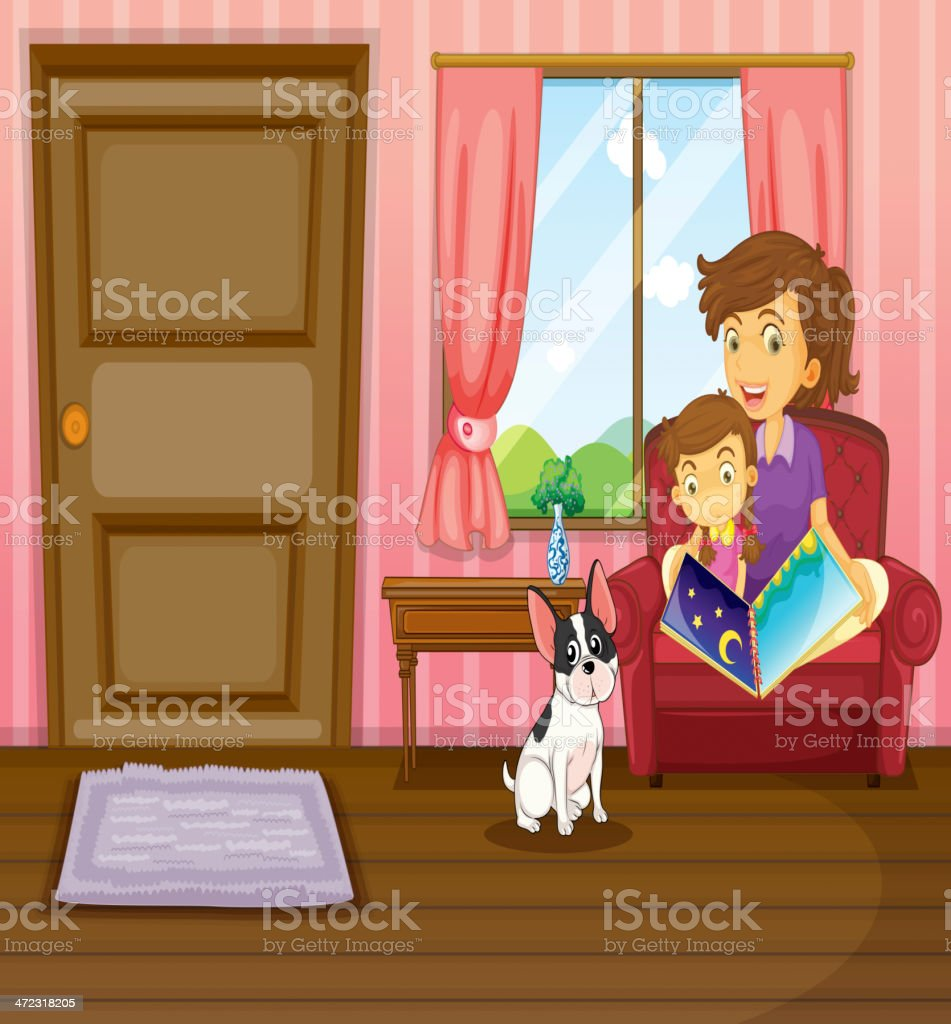 Mother and girl reading with a dog inside the house royalty-free stock vector art