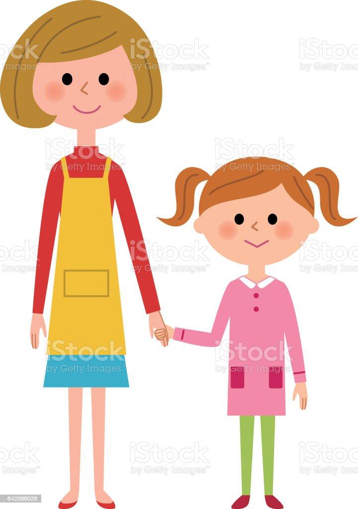 母と少女  ベクターアートイラスト