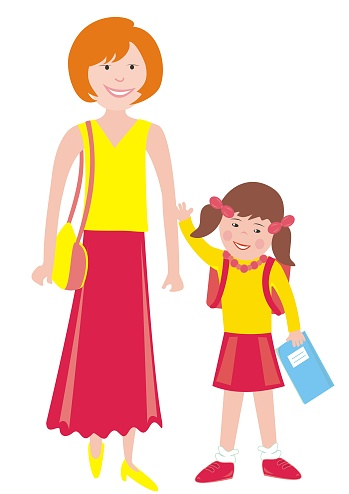 Mother and girl with school bag and workbook, eps.