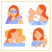 Mother and her baby set, Mother's Day logo happy cartoon vector