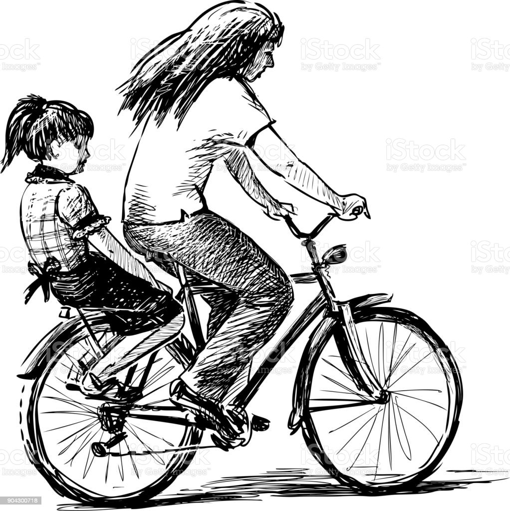 Mother and her daughter ride a bicycle vector art illustration