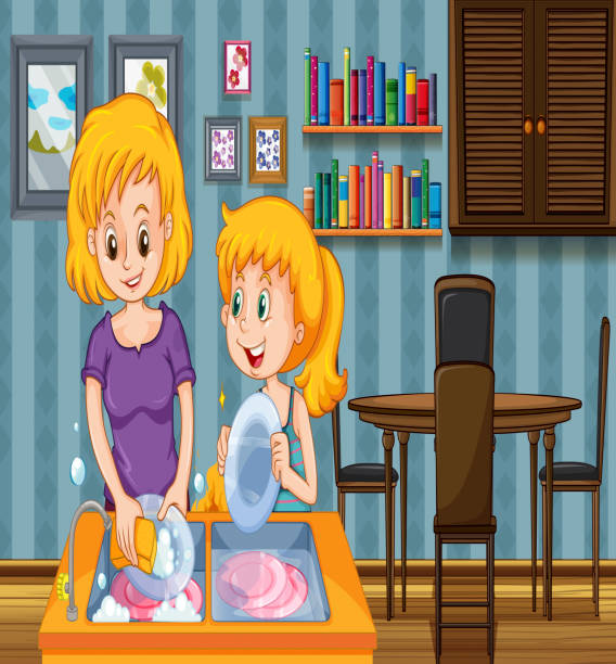 Royalty Free Mother Daughter Washing Dishes Clip Art ...