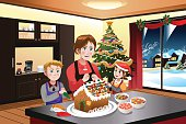 A vector illustration of mother making gingerbread house with her kids together