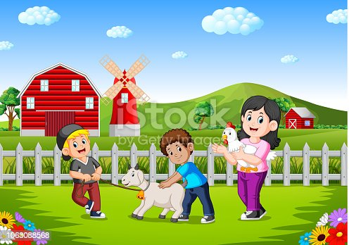 illustration of mother and kids on the farm with animal livestock
