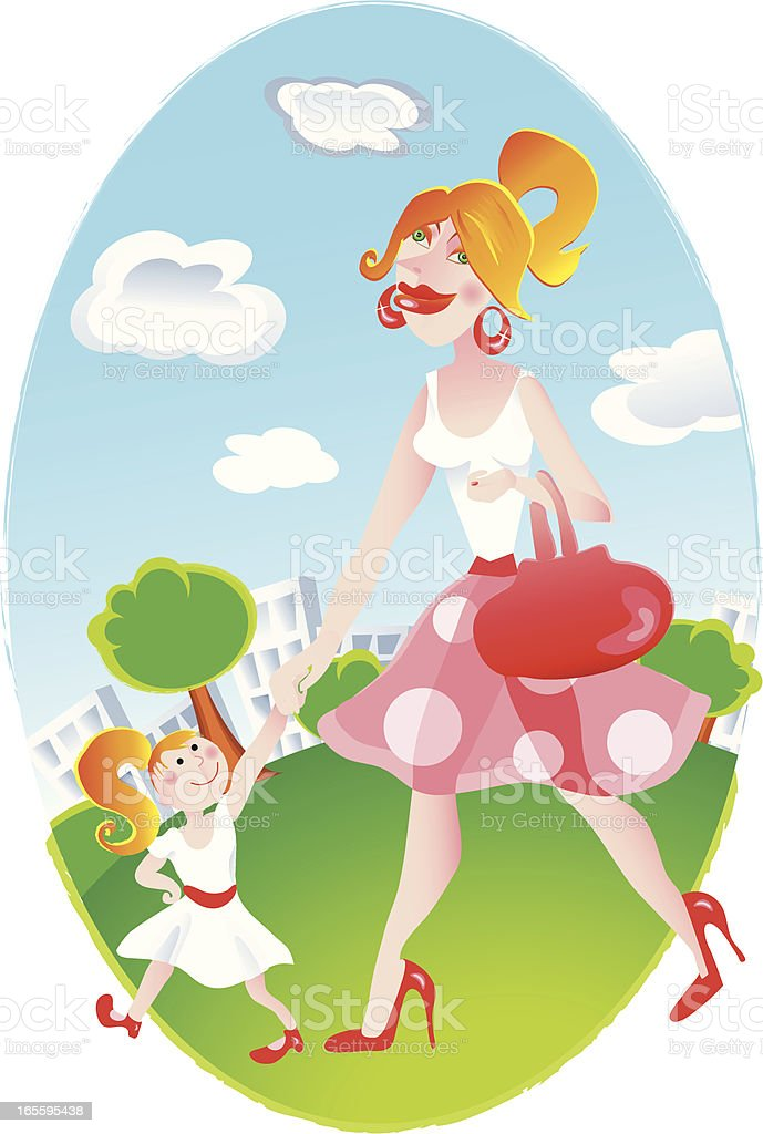 mother and little daughter walking royalty-free stock vector art