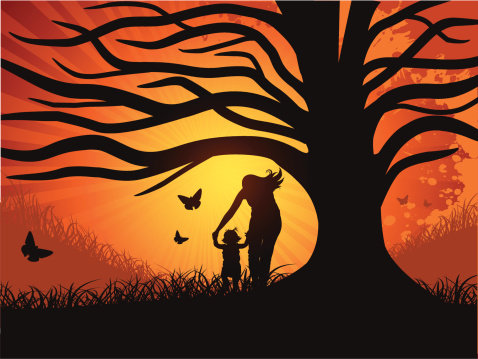 Mother and Little Girl under a Tree