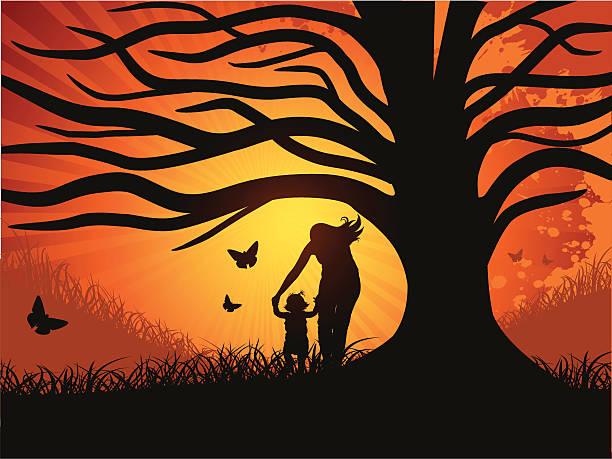 ilustrações de stock, clip art, desenhos animados e ícones de mãe e menina debaixo de uma árvore - enjoying wealthy life
